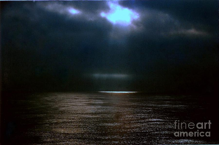 Seascape Photography Photograph - Moon Glow Over The Gulf Of Mexico by Michael Hoard