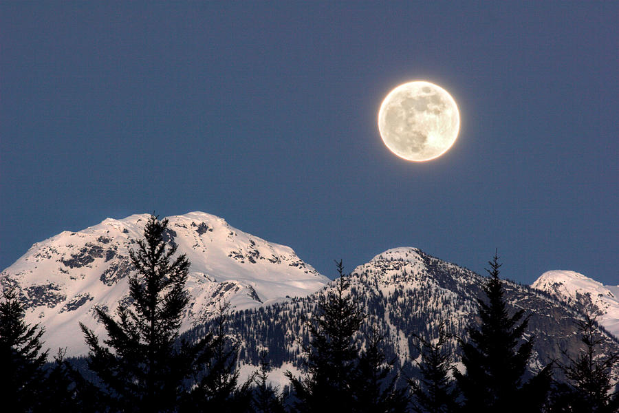 Full Moon Photograph - Moon Glow Whistler Canada by Pierre Leclerc Photography