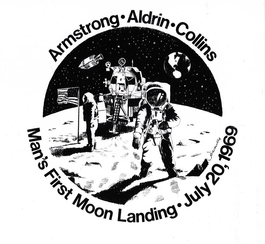 Moon Landing Drawing - Moon Landing by J W Kelly