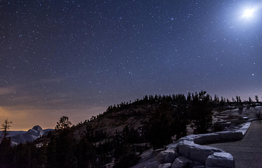 Night Photograph - Moon Light At Olmstead Point by Cat Connor