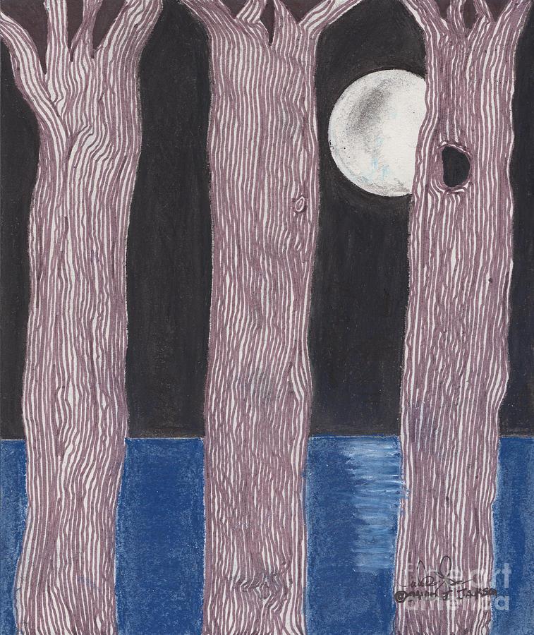 Trees Mixed Media - Moon Light by David Jackson
