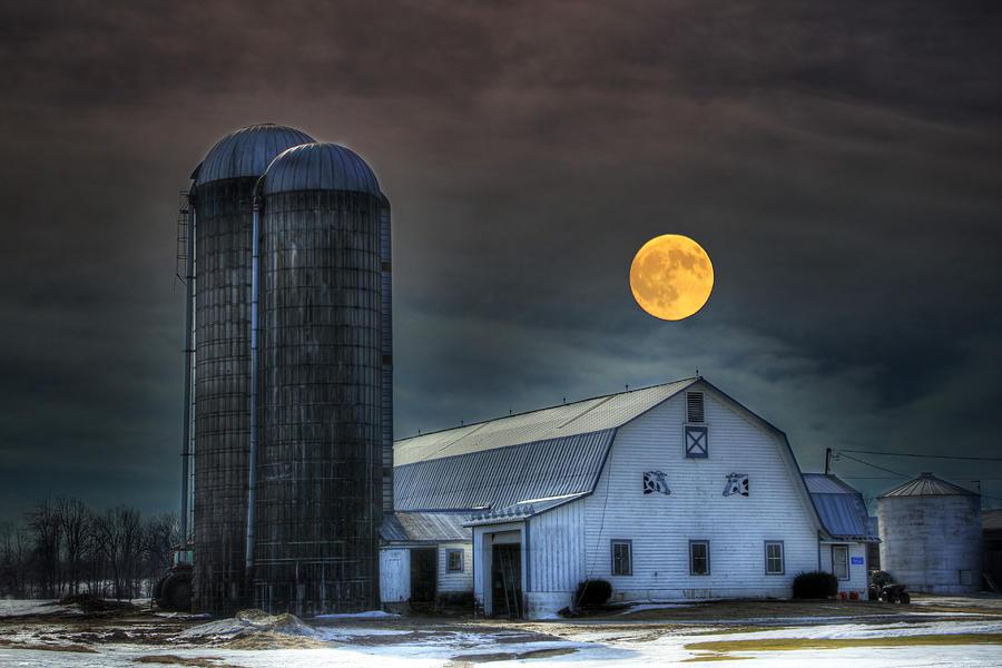 Full Moon Photograph - Moon Light Night On The Farm by David Simons