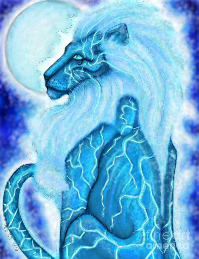 Moon Digital Art - Moon Lion by Coriander  Shea