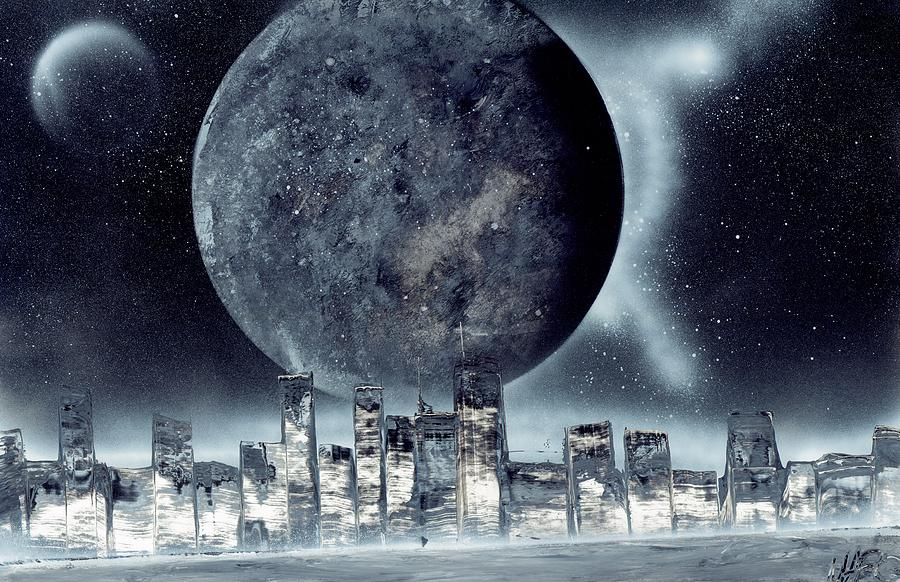 City Painting - Moon Lit City by Marc Chambers