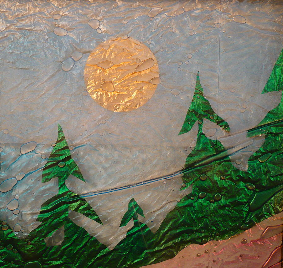Glass Art Painting - Moon Mist  by Rick Silas