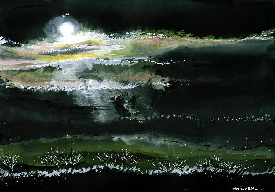 Night Painting - Moon N Light by Anil Nene