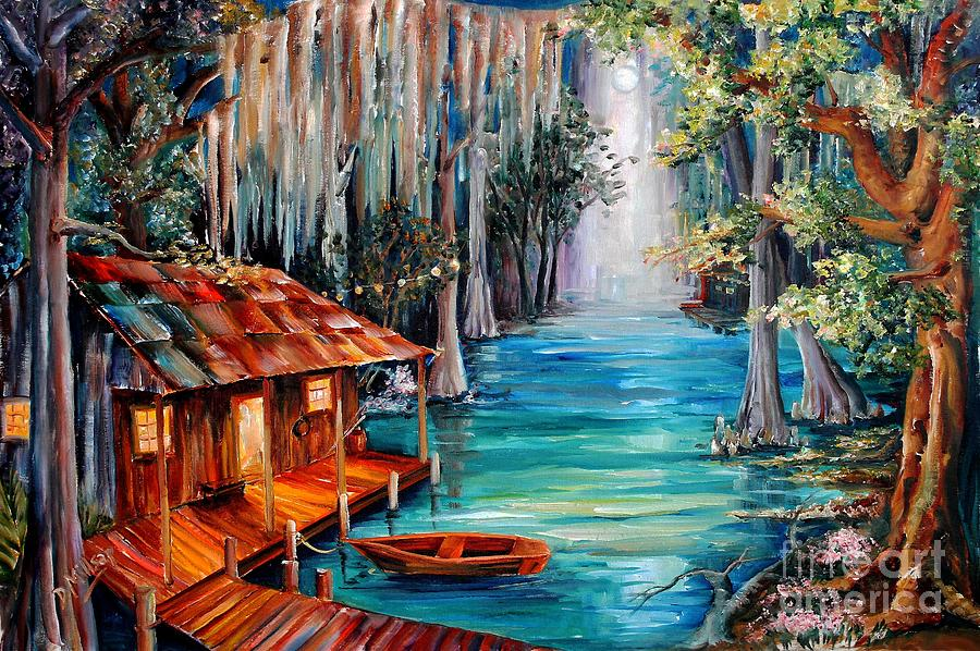Bayou Painting - Moon On The Bayou by Diane Millsap