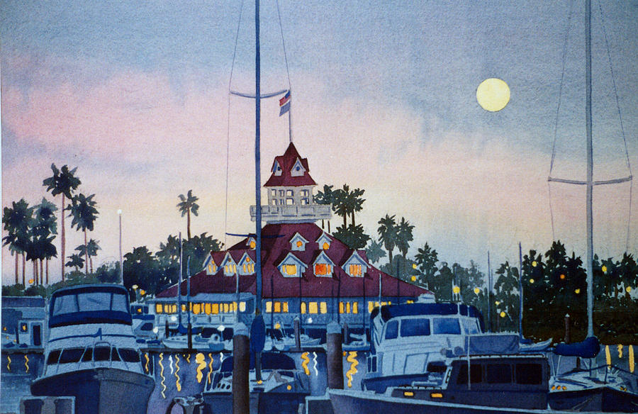 Boat Painting - Moon Over Coronado Boathouse by Mary Helmreich