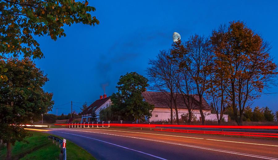 Poland Photograph - Moon Over E77 Road In Warmia Region In Poland by Julis Simo