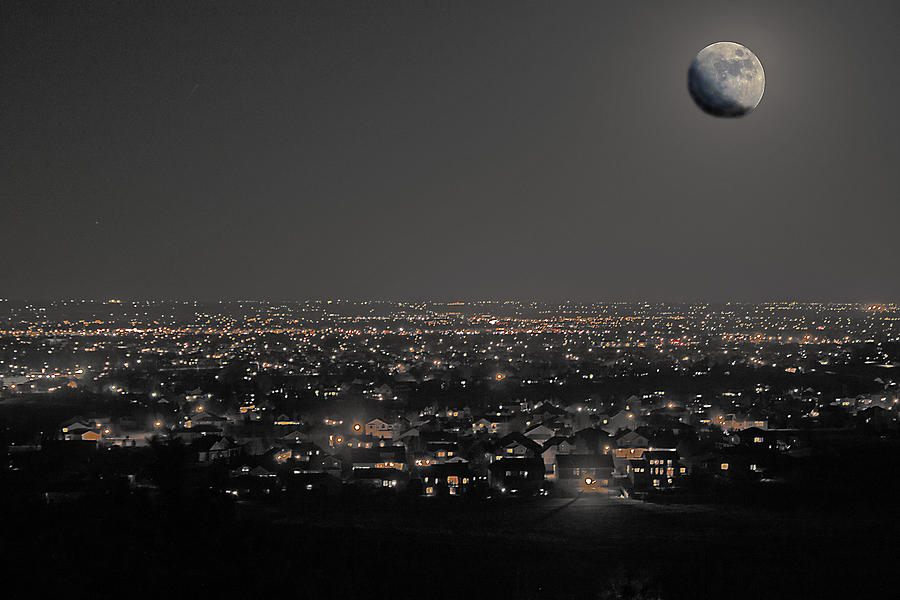 Moon Photograph - Moon Over Fort Collins by David Kehrli