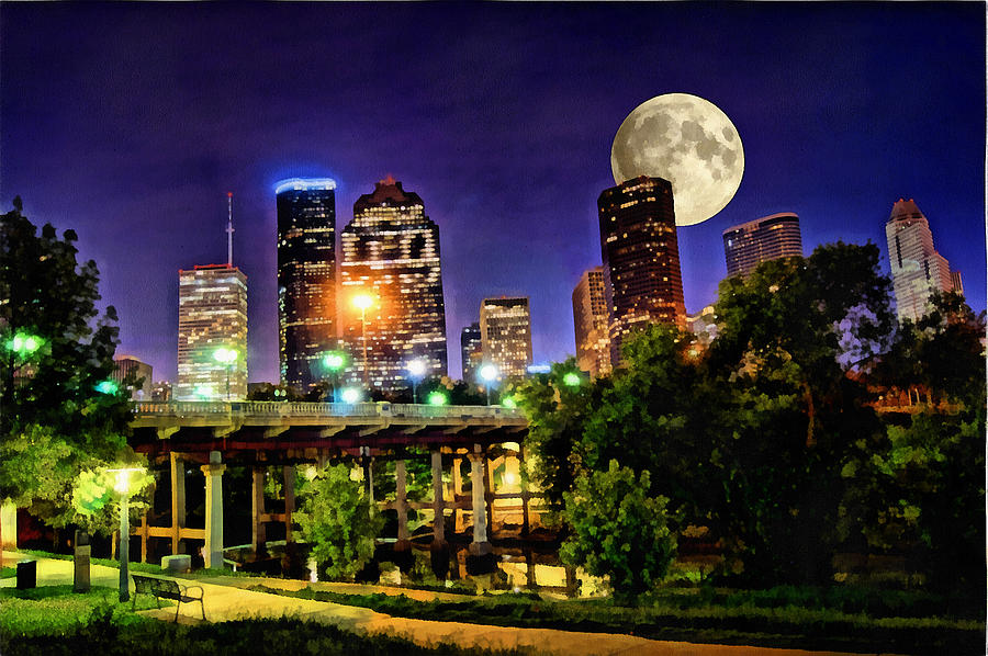 Cityscape Painting - Moon Over Houston by Lester Phipps