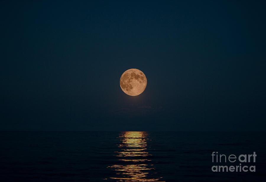 Blue Moon Photograph - Moon Over Lake Of Shining Waters by Barbara McMahon
