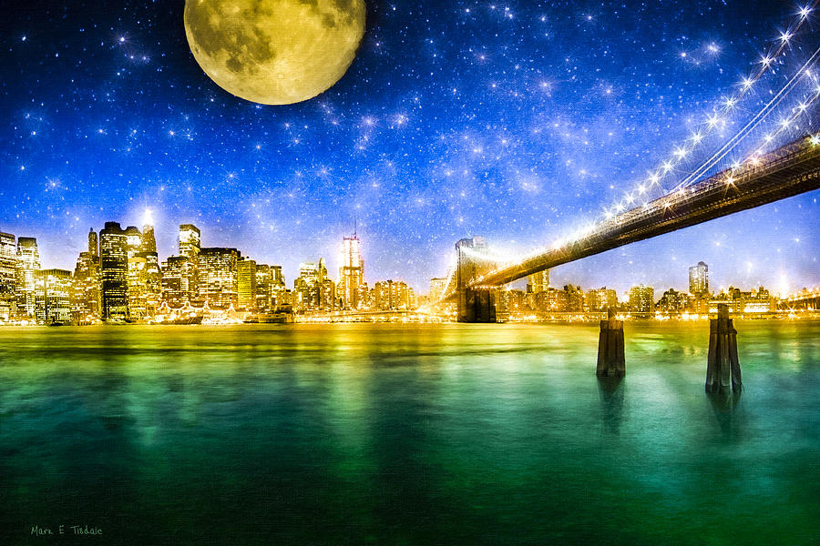 New York Photograph - Moon Over Manhattan by Mark E Tisdale