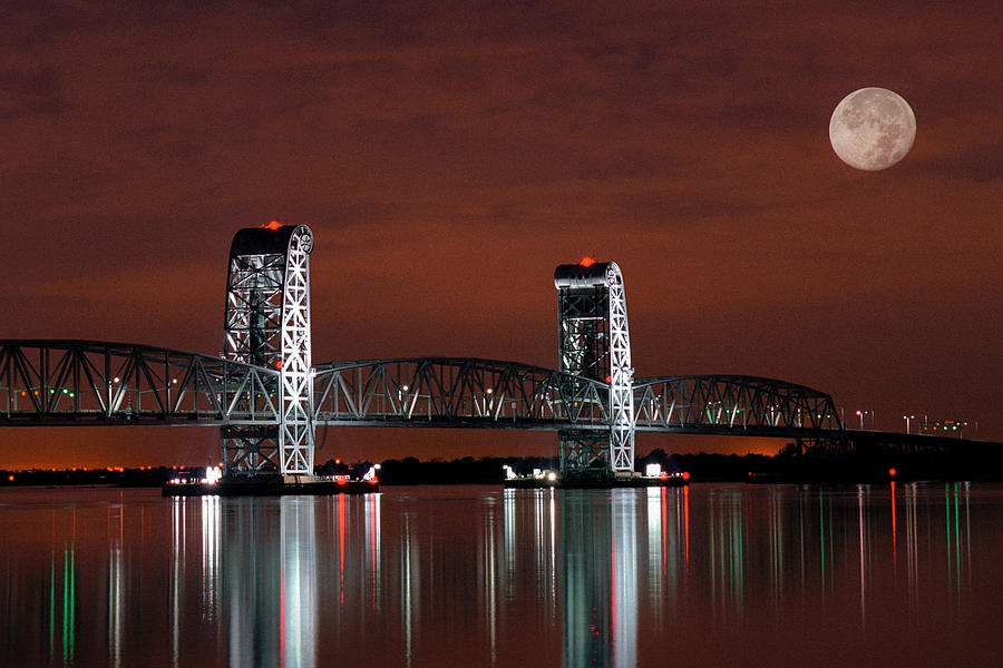 Bridges Photograph - Moon Over Marine Parkway Bridge - Gil Hodges Memorial Bridge by Gary Heller