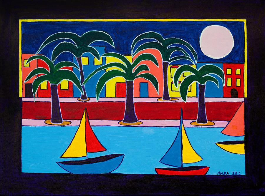 Moon Over Miami Painting - Moon Over Miami by Marlene MALKA Harris
