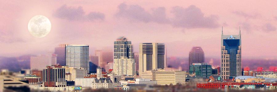 Nashville Skyline Photograph - Moon Over Nashville by Amy Tyler