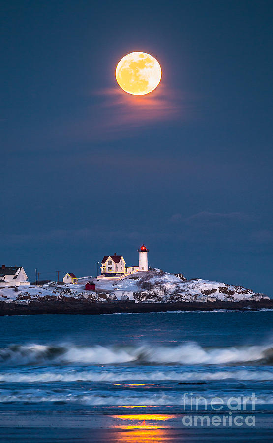 Cape Neddick Photograph - Moon Over Nubble by Benjamin Williamson