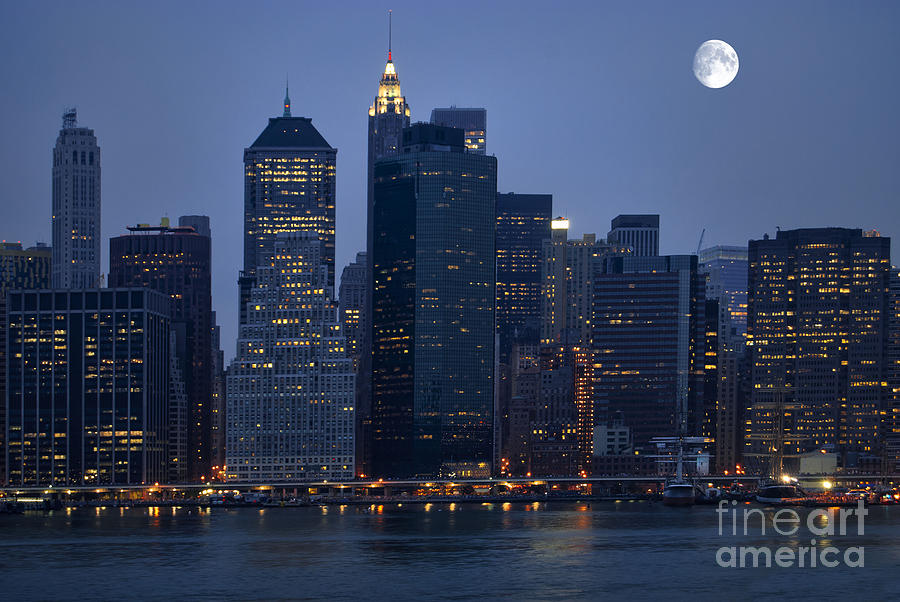 Moon Over Nyc Skyline Photograph By Sabine Jacobs