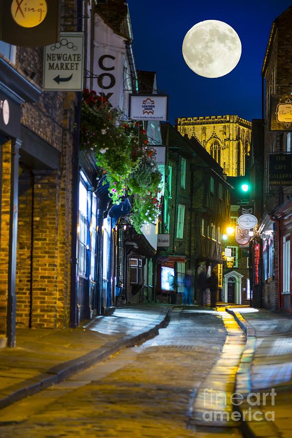 City Photograph - Moon Over Old City Of The York by Lilianna Sokolowska