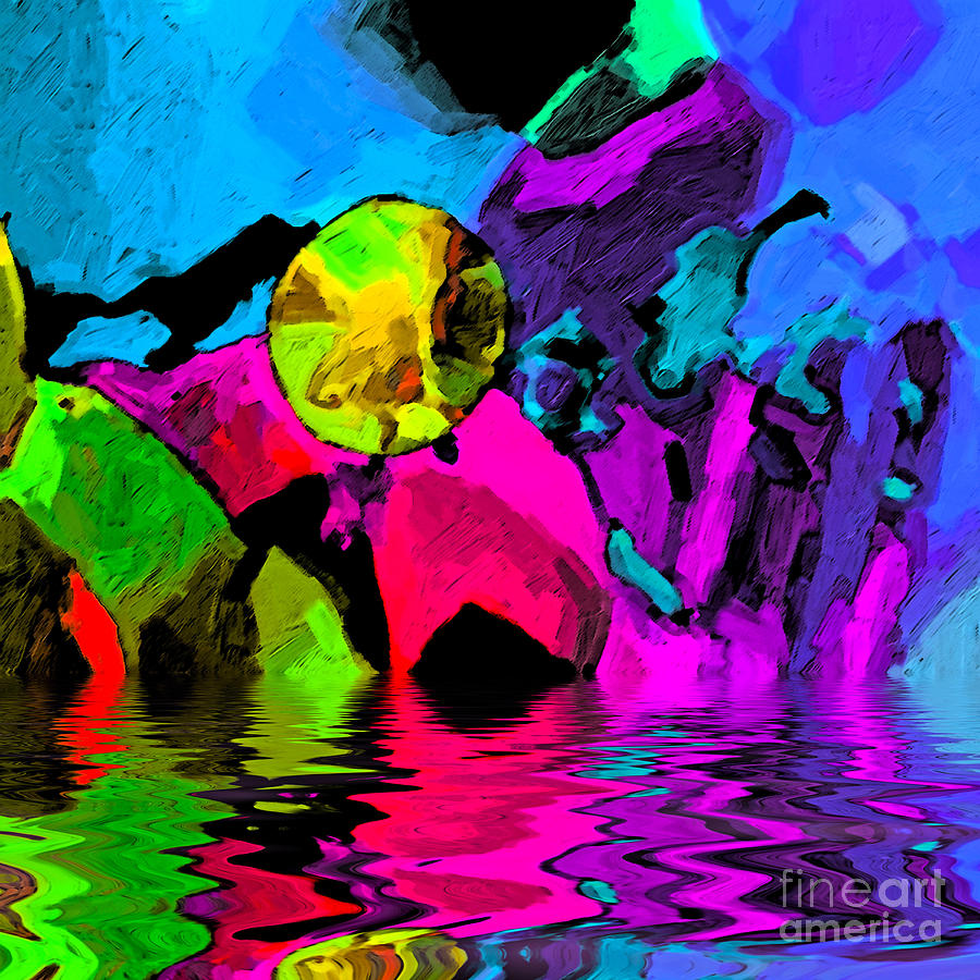 Moon Digital Art - Moon Over Pink Iceberg Abstract by Dee Flouton