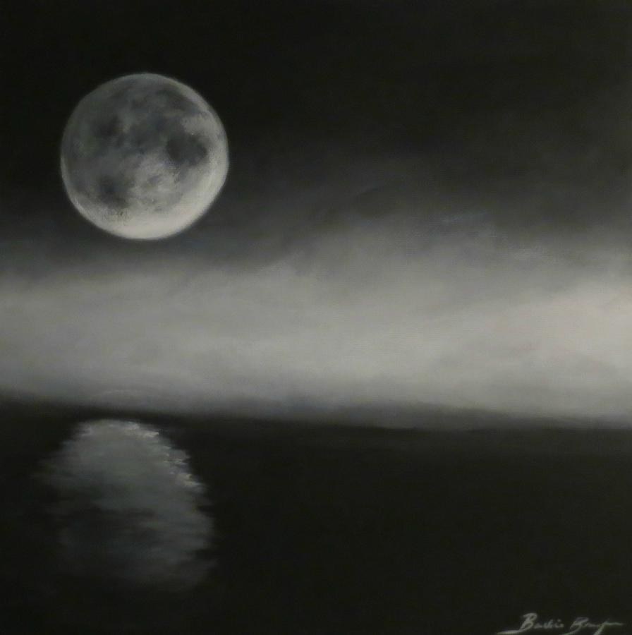 Moon Over The Shores Painting By Barbie Baughman