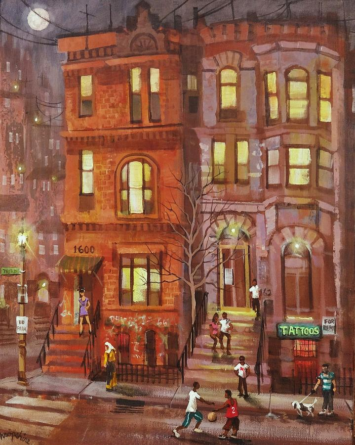 Brownstone Painting - Moon Over Third Street by Tom Shropshire