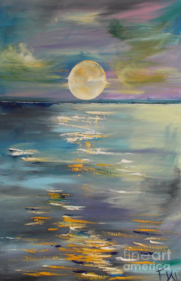 Reflection Painting - Moon Over Your Town/reflexion by PainterArtist FIN