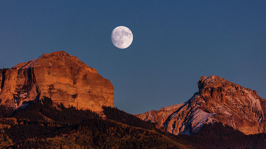 Horizontal Photograph - Moon Rise Over Cimarron Mountain Range by Panoramic Images