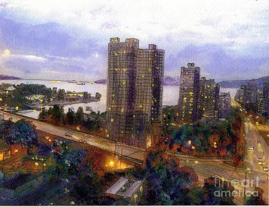 Vancouver Painting - Moon Rise Over Vancouver  by Randy Sprout