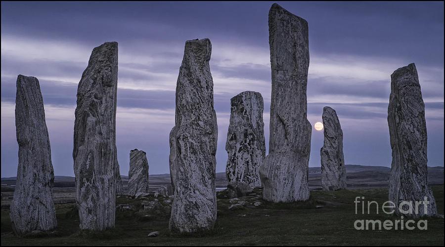 Moon Rising Behind Callanish Stone Circle by George Hodlin