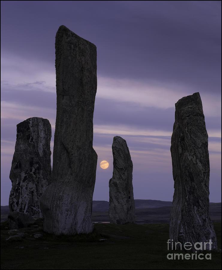 Moon Rising Behind Callanish Stone Circle No2 by George Hodlin