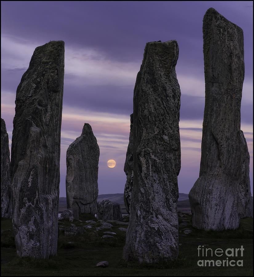 Moon Rising Behind Callanish Stone Circle No3 by George Hodlin