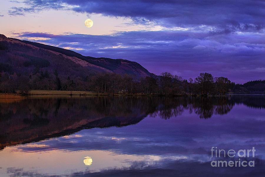 Loch Photograph - Moon Rising Over Loch Ard by John Farnan