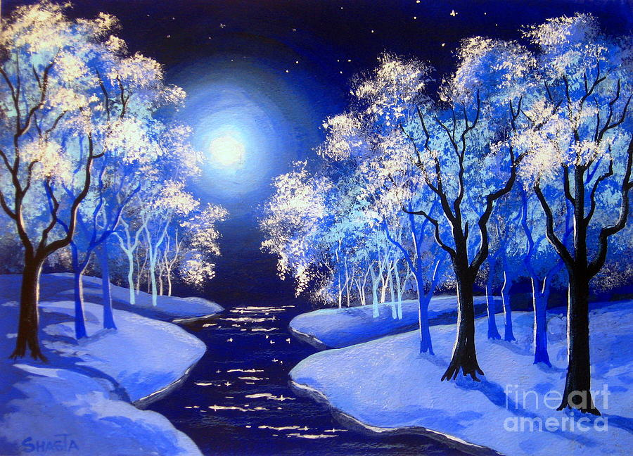 Landscape Painting - Moon  River . by Shasta Eone