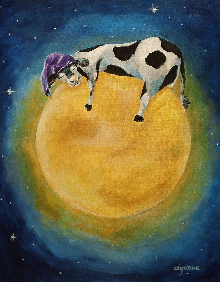 Cow Painting - mOOn Snooze by Dyanne Parker
