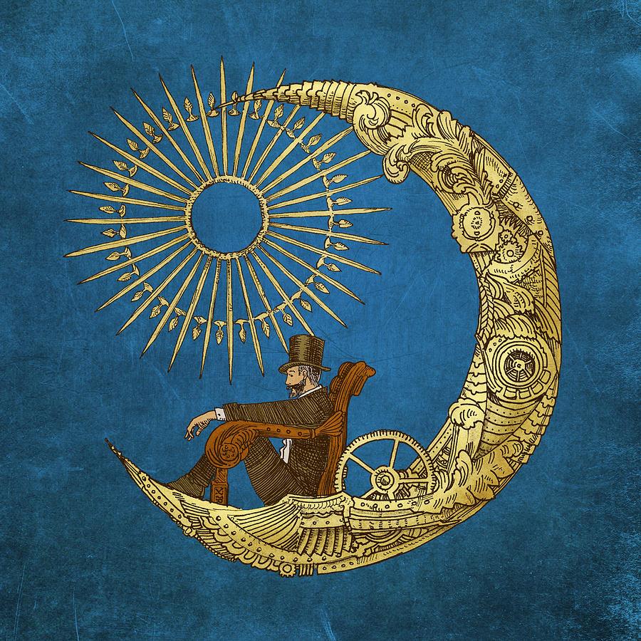 Blue Digital Art - Moon Travel by Eric Fan