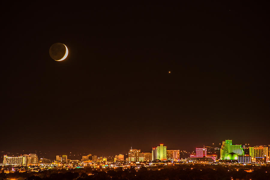 New Moon Photograph - Moon-venus Over Reno by Janis Knight