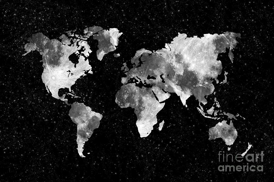 World Map Photograph - Moon World Map by Delphimages Photo Creations