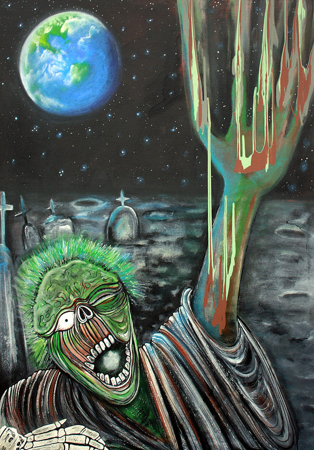 Zombie Painting - Moon Zombie by Laura Barbosa