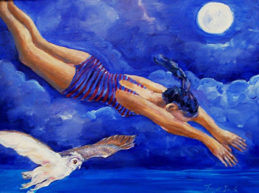 Diver Painting - Moonbather  by Trudi Doyle