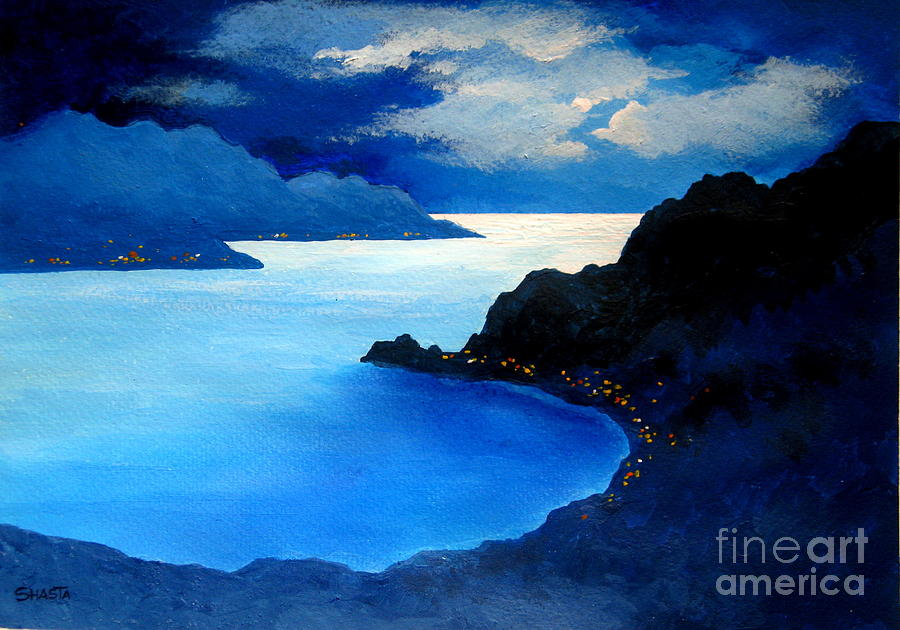 Landscape Painting - Moonlight And Jewels  by Shasta Eone