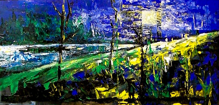 Landscape Painting - Moonlight Blue by Laurend Doumba