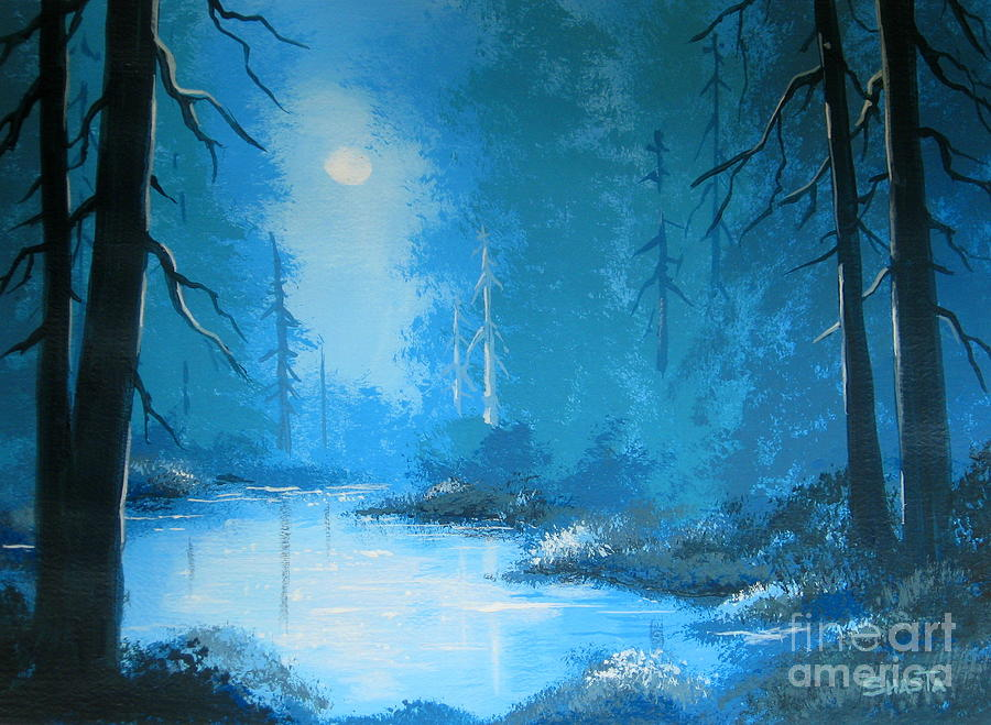 Serenity Landscapes Painting - Moonlight  Dream  by Shasta Eone