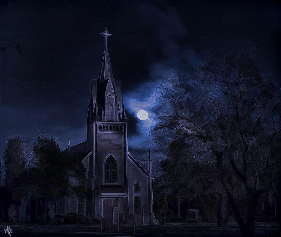 Church Digital Art - Moonlight by Hazel Billingsley