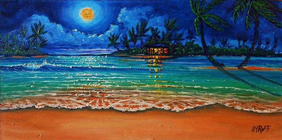Moonlight Lagoon Painting by Joseph   Ruff
