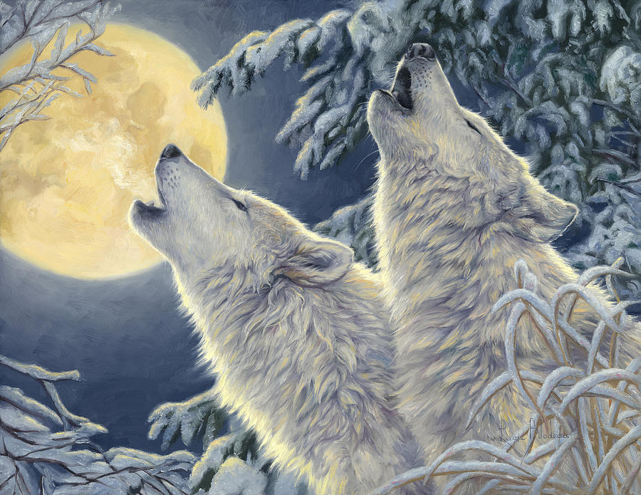 Wolf Painting - Moonlight by Lucie Bilodeau
