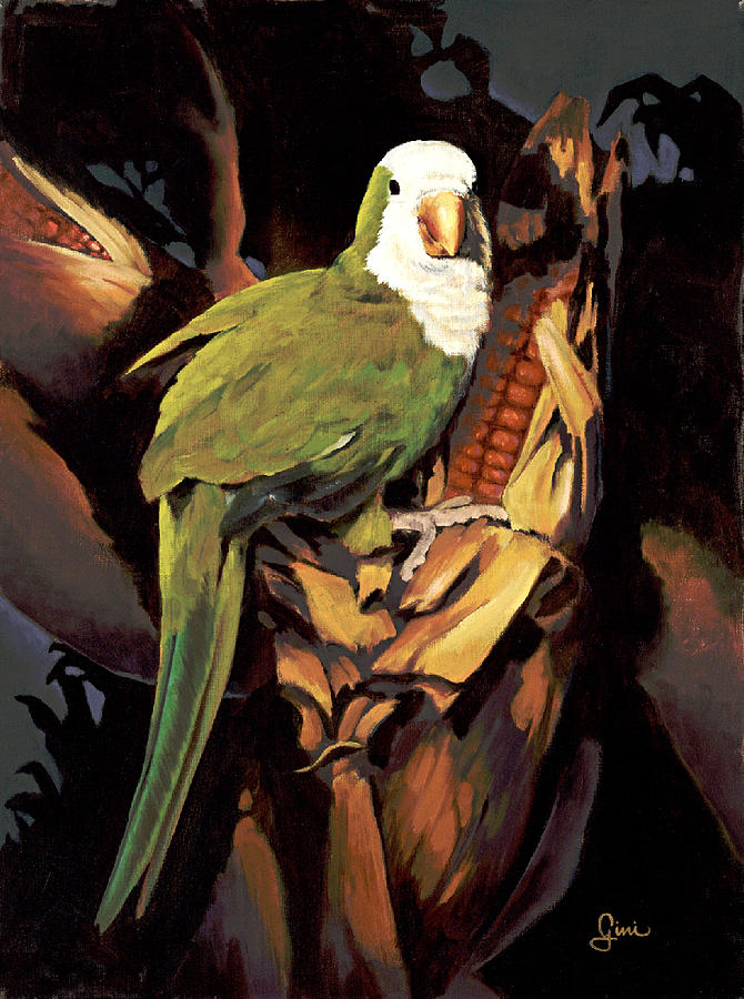 Parrot Painting - Moonlight Marauder by Gini Heywood