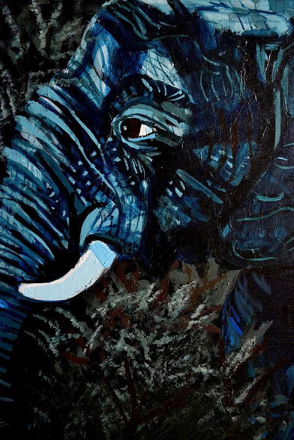 Elephant Painting - Moonlight Matriarch by Gianna Ferazzi-Mooney