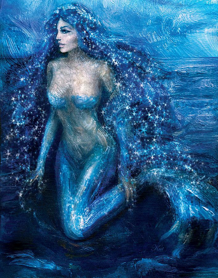 Moonlight Mermaid Painting By Kat Walker