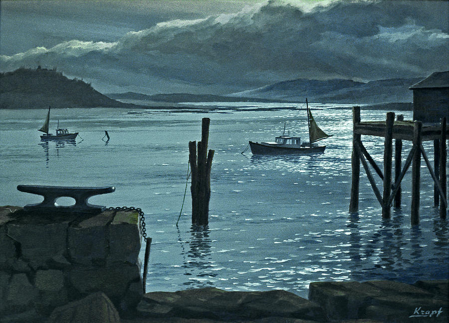 Seascape Painting - Moonlight On The Harbor by Paul Krapf